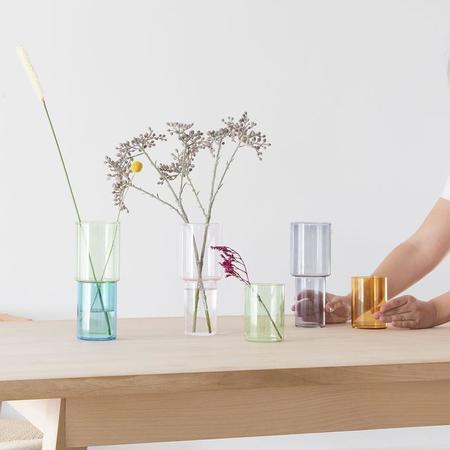 Block Design Stacking Vase - Orange/Green