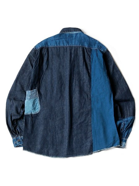 Unisex Kapital Cotton/Linen Indigo Patch KATMANDU Shirt - Indigo