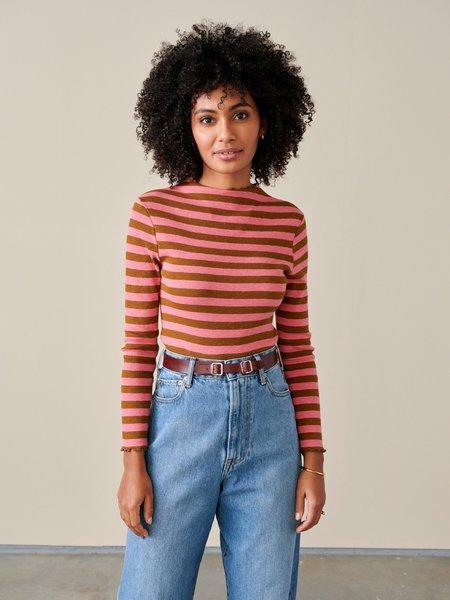 Bellerose Niba Stripe Knit Shirt - Brown/Pink