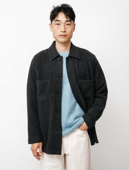 Auralee Cashmere Wool Brushed Big Shirt - Charcoal