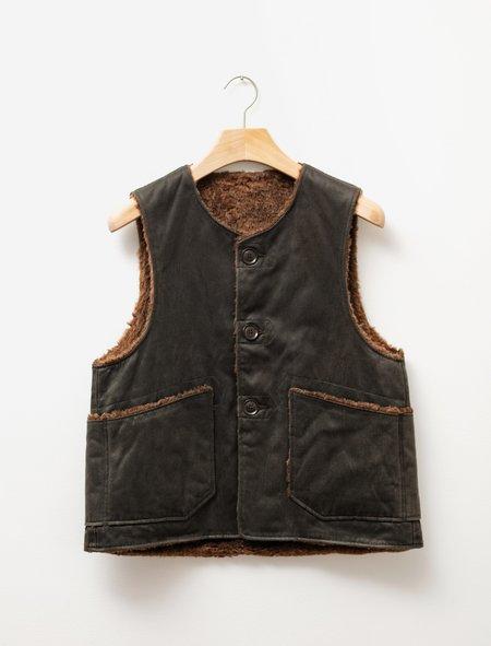 Engineered Garments  Coated Twill Over Vest - Dark Olive