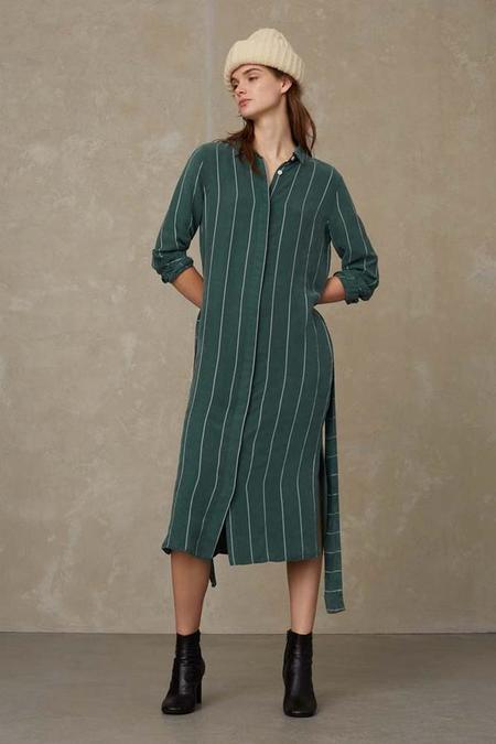 kings of indigo Maggy tencel dress - forest stripe