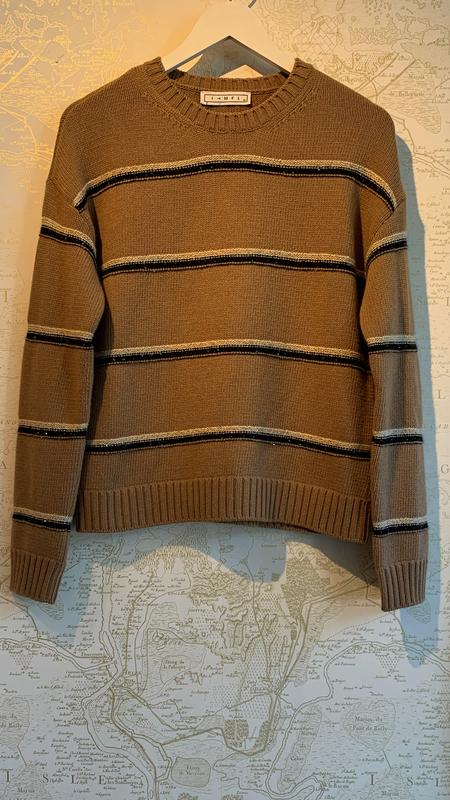 ITMFL Florence Sequin Stripe Sweater - Hazelnut