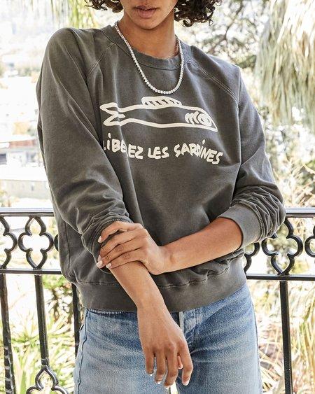 Clare V. Liberez les Sardines Sweatshirt - Faded Black