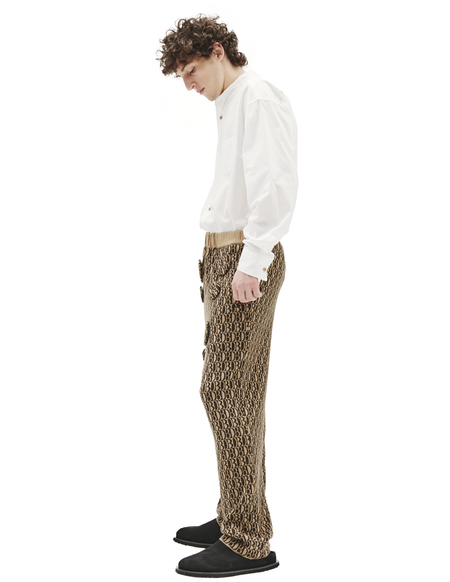 Doublet Brown Knitted Pants With DB MONOGRAM - Brown