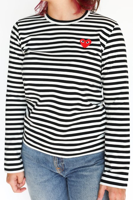 Comme des Garçons Red Heart Striped Long Sleeve - Black/White