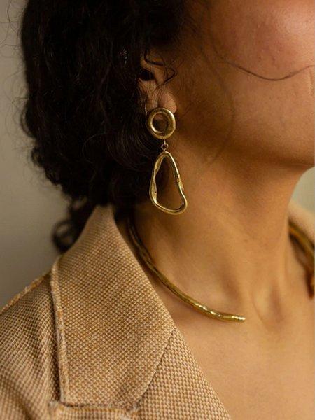 Dea Dia Imperfect Geometry Earrings - Brass/Silver