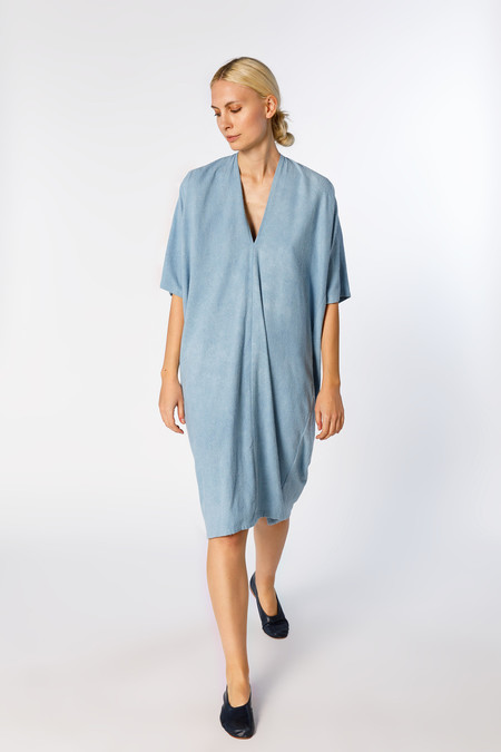 Miranda Bennett Muse Dress - Silk Noil in Light Indigo