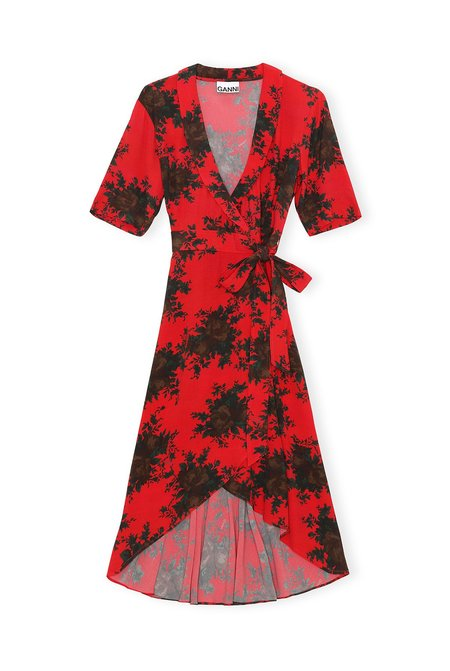 Ganni Printed Crepe Wrap Dress - High Risk Red