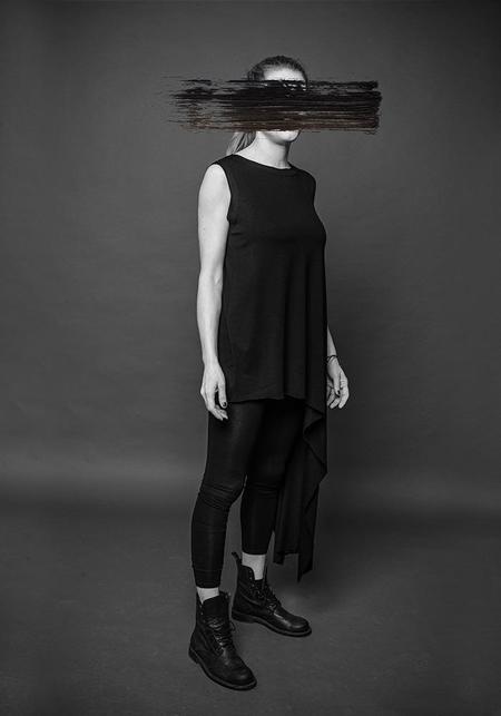 MAKS Asymmetric Sleeveless Top - BLACK/DEEP RED