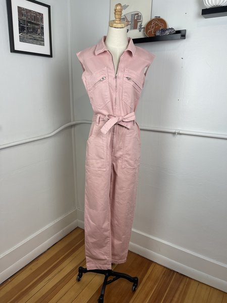 [pre-loved] Ba&Sh Pink Denim Lady Jumpsuit - pink