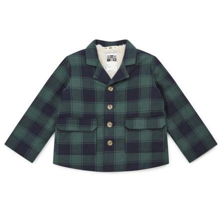 Kids bonton check blazer - green