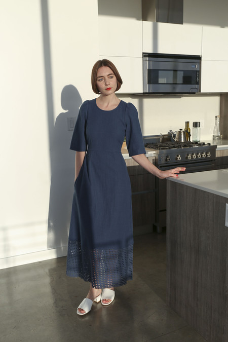 Caron Callahan Mattie Dress in Indigo Pique