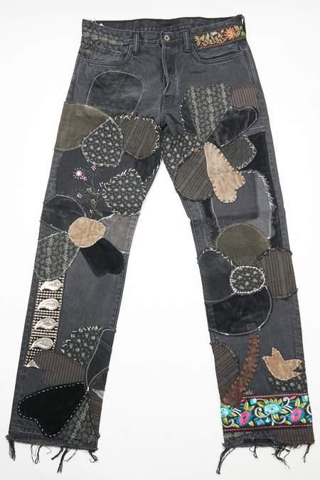 Kapital KOUNTRY 14oz BLACK Denim 5P Monkey Cisco Hippie Insanity Remake Jeans  - Black