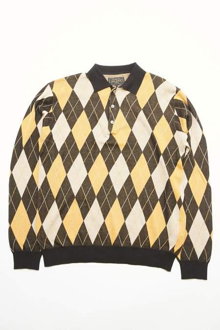 Beams Plus  Argyle 14G Knit Polo - Black