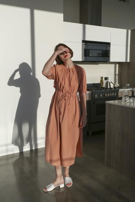 Sayaka Davis Drawstring Dress Coat in Nude Beige