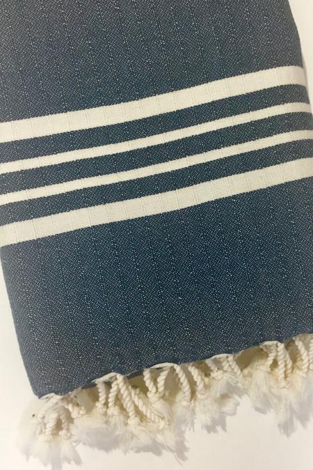 Mandalina Thick Stripe Turkish Towel/Throw - navy