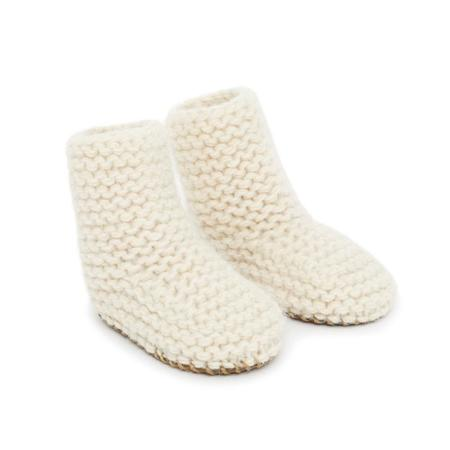 kids bonton knit baby booties shoes - cream