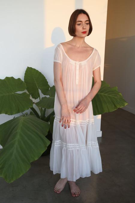 Vivien Ramsay Passion Voile Full Peasant Dress in Bone