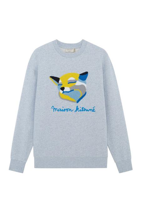 Kitsune Sweat Shirt Fox Ines Longevial - Light Grey Melange
