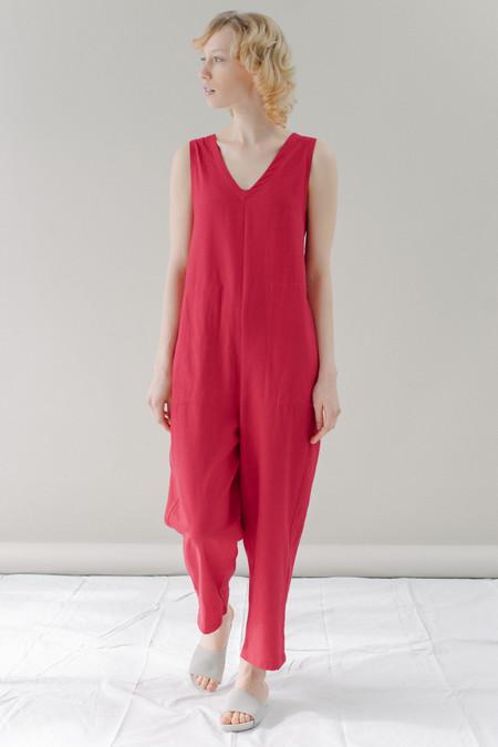 REIFhaus Lou Jumpsuit in Cardinal Linen