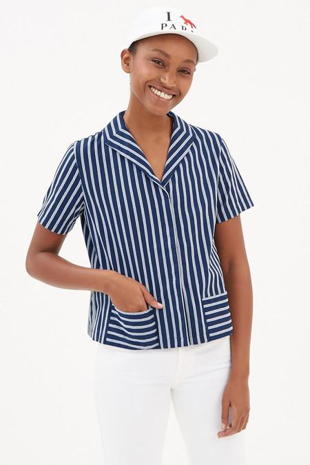 Kitsune Simone Pocket Shirt | Navy