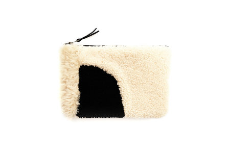 Primecut BEIGE AND BLACK PATCHWORK SHEEPSKIN CLUTCH