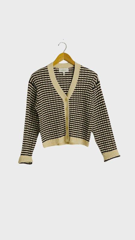 The Great. The Mini Striped Cardigan - Woodsmoke Stripe