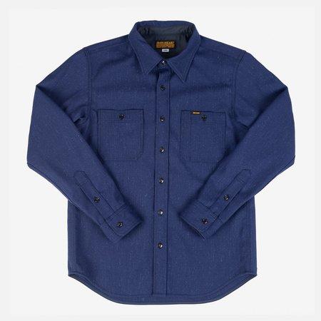 Iron Heart IHSH-298-Navy Woolen Serge Work Shirt - blue