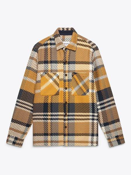 Wax London Whiting Heavy Plaid Overshirt - Navy/Yellow