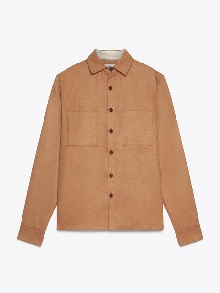 Wax London Whiting Melton Wool Overshirt - Camel