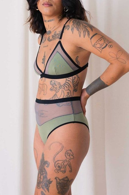 Mary Young Contrast Bra - Sage