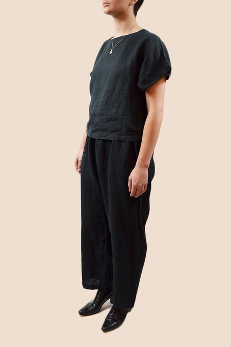 Black Crane Linen Box Tee | Black