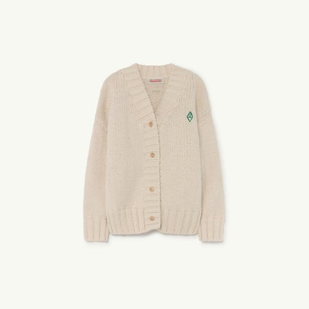 Kids The Animals Observatory Racoon Kid's Cardigan - Raw White