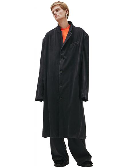 Balenciaga Worn Oversized Coat - Black