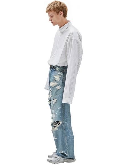 Balenciaga Wide Jeans With All-over Rips
