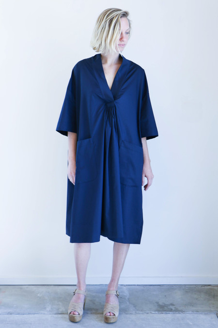 Sunja Link Patch Pocket Dress in Navy Poplin