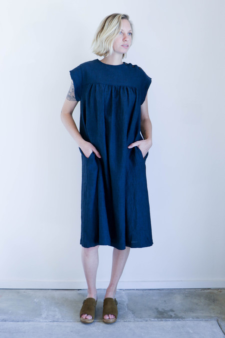 Sunja Link Yoke Dress in Indigo Linen