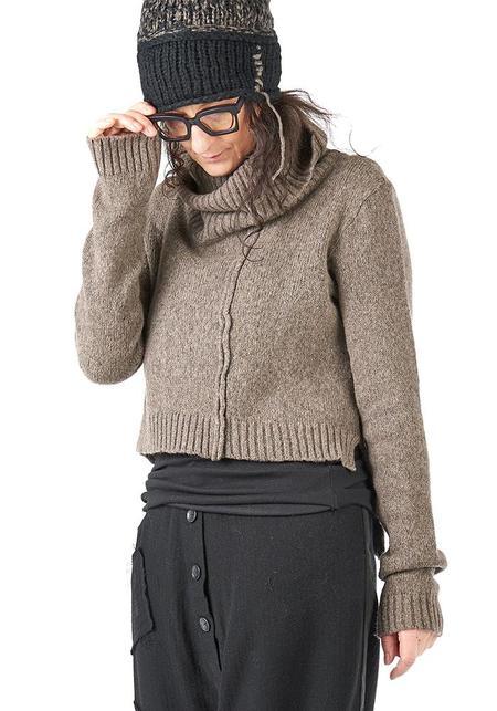 Studio B3 Parno Asymmetric Cropped Funnel Neck Knit Pullover - BEIGE