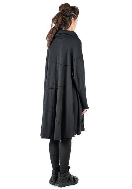 Studio B3 Varna Oversized Funnel Neck Long Sleeve Dress - Black
