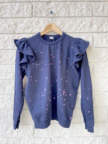 Clare V. Ruffle Sweatshirt - Navy/Lavender Splash