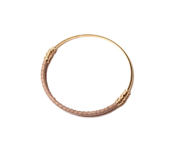 Bloom Leather Wrap Skinny Bangle