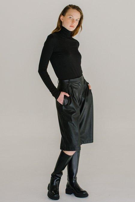 Mijeong Park Roll Neck Jersey Top - Black
