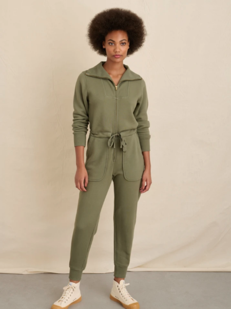 Alex Mill Crosby Sweatshirt Jumpsuit - Military Green