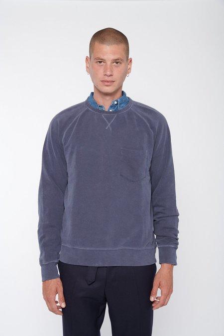 Officine Generale Chris Crewneck Pigment Dye Fleece Sweatshirt - Dark Navy