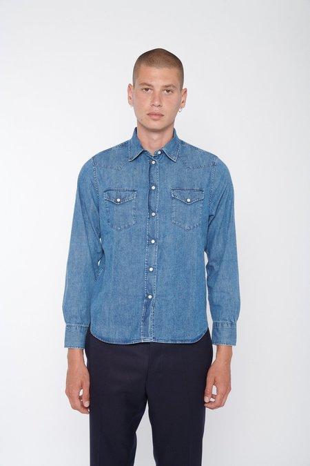 Officine Generale Felix Cotton Shirt - Blue Denim