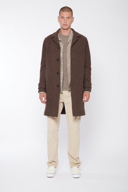 Officine Generale Stephane Italian Prince Of Wale Wool Coat - Brown/Light Brown