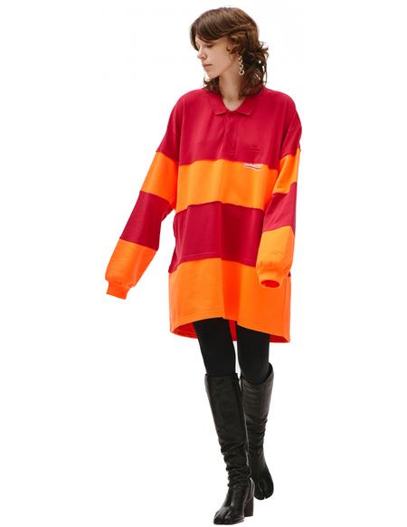 Balenciaga Long Sleeve Polo - Orange/Red