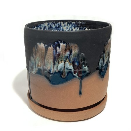 Michelle Mendlowitz Large Planter with Plate - Black multi on buff
