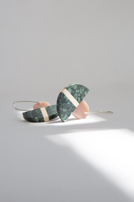 ALISON JEAN COLE Triple Stone Earrings - Green